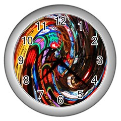 Abstract Chinese Inspired Background Wall Clocks (Silver)