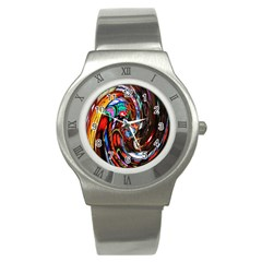 Abstract Chinese Inspired Background Stainless Steel Watch