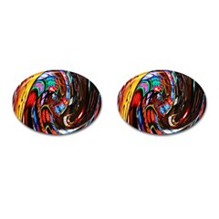 Abstract Chinese Inspired Background Cufflinks (Oval)