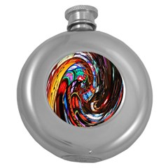 Abstract Chinese Inspired Background Round Hip Flask (5 Oz)