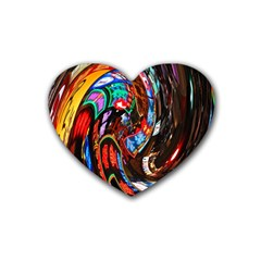 Abstract Chinese Inspired Background Heart Coaster (4 Pack)