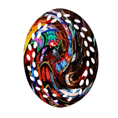 Abstract Chinese Inspired Background Oval Filigree Ornament (Two Sides)