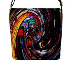 Abstract Chinese Inspired Background Flap Messenger Bag (L)