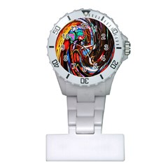 Abstract Chinese Inspired Background Plastic Nurses Watch