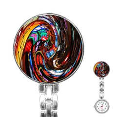Abstract Chinese Inspired Background Stainless Steel Nurses Watch