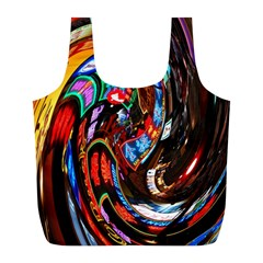 Abstract Chinese Inspired Background Full Print Recycle Bags (L)