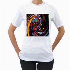 Abstract Chinese Inspired Background Women s T-Shirt (White)