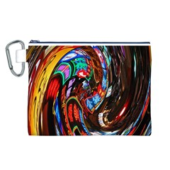 Abstract Chinese Inspired Background Canvas Cosmetic Bag (L)
