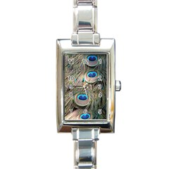 Colorful Peacock Feathers Background Rectangle Italian Charm Watch