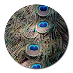 Colorful Peacock Feathers Background Round Mousepads