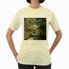 Colorful Peacock Feathers Background Women s Yellow T-Shirt