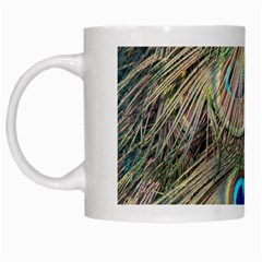 Colorful Peacock Feathers Background White Mugs