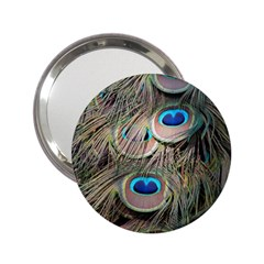 Colorful Peacock Feathers Background 2 25  Handbag Mirrors