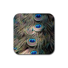 Colorful Peacock Feathers Background Rubber Coaster (Square)