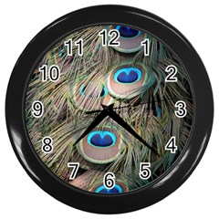 Colorful Peacock Feathers Background Wall Clocks (Black)