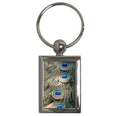 Colorful Peacock Feathers Background Key Chains (rectangle)