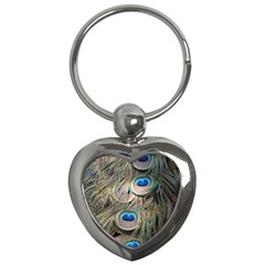 Colorful Peacock Feathers Background Key Chains (Heart)