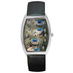 Colorful Peacock Feathers Background Barrel Style Metal Watch
