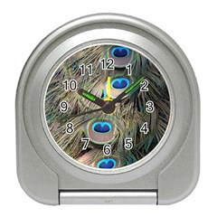 Colorful Peacock Feathers Background Travel Alarm Clocks