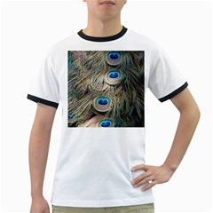 Colorful Peacock Feathers Background Ringer T-Shirts