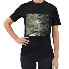 Colorful Peacock Feathers Background Women s T Shirt (black) (two Sided)