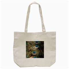 Colorful Peacock Feathers Background Tote Bag (Cream)