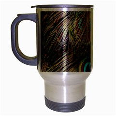 Colorful Peacock Feathers Background Travel Mug (Silver Gray)