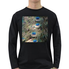 Colorful Peacock Feathers Background Long Sleeve Dark T-Shirts