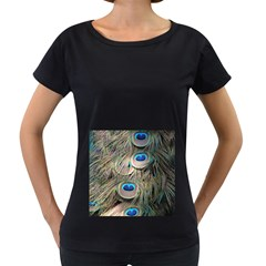 Colorful Peacock Feathers Background Women s Loose-Fit T-Shirt (Black)