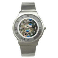 Colorful Peacock Feathers Background Stainless Steel Watch