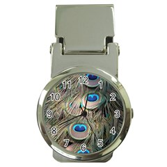 Colorful Peacock Feathers Background Money Clip Watches