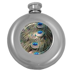 Colorful Peacock Feathers Background Round Hip Flask (5 oz)