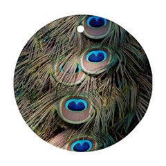 Colorful Peacock Feathers Background Round Ornament (two Sides)