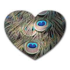 Colorful Peacock Feathers Background Heart Mousepads