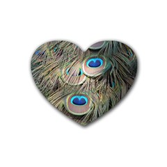 Colorful Peacock Feathers Background Rubber Coaster (heart)