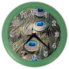 Colorful Peacock Feathers Background Color Wall Clocks