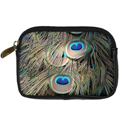 Colorful Peacock Feathers Background Digital Camera Cases