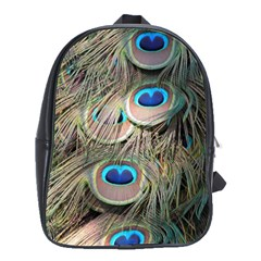 Colorful Peacock Feathers Background School Bags(Large)