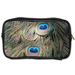 Colorful Peacock Feathers Background Toiletries Bags 2 Side