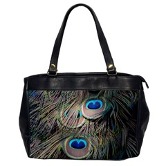 Colorful Peacock Feathers Background Office Handbags