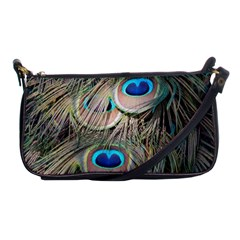 Colorful Peacock Feathers Background Shoulder Clutch Bags
