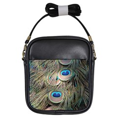 Colorful Peacock Feathers Background Girls Sling Bags