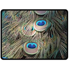 Colorful Peacock Feathers Background Fleece Blanket (Large)