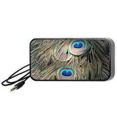 Colorful Peacock Feathers Background Portable Speaker (Black)
