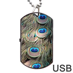 Colorful Peacock Feathers Background Dog Tag USB Flash (Two Sides)