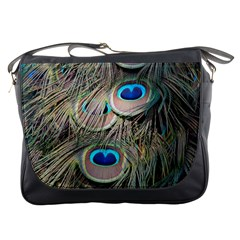 Colorful Peacock Feathers Background Messenger Bags