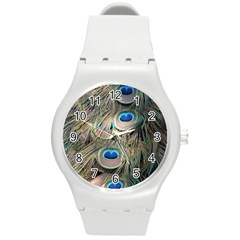 Colorful Peacock Feathers Background Round Plastic Sport Watch (M)