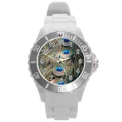 Colorful Peacock Feathers Background Round Plastic Sport Watch (L)