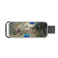 Colorful Peacock Feathers Background Portable USB Flash (One Side)