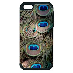 Colorful Peacock Feathers Background Apple iPhone 5 Hardshell Case (PC+Silicone)